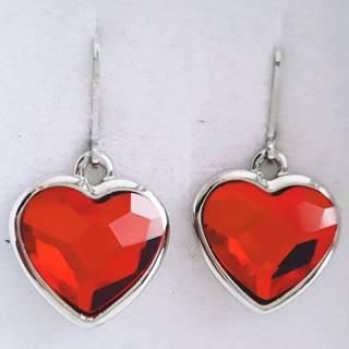 Náušnice Red Heart SWAROVSKI-Str./Červená