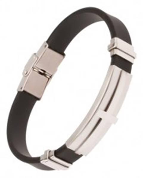 Náramok na ruku, čierny gumený pás, oceľová známka s krížom Y02.13