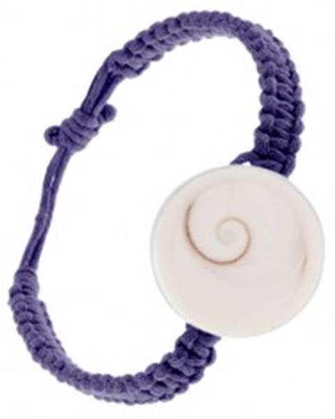 Pletený náramok z tmavofialových šnúrok, kruhová mušľa S11.03