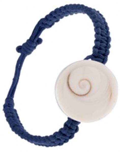 Šnúrkový náramok tmavomodrej farby, pletenec s kruhovou mušľou S11.15