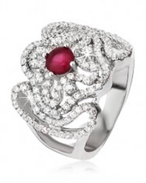 Strieborný prsteň 925, zirkónový kríž, zvlnené línie a ružovočervený kamienok - Veľkosť: 52 mm