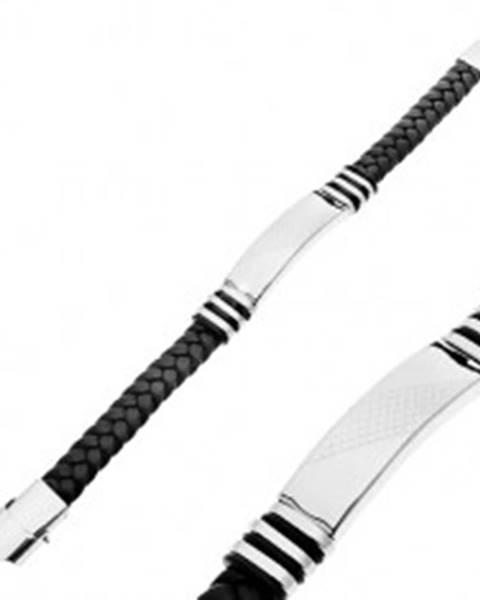 Zapletaný náramok z gumy čiernej farby, známka s kosoštvorcami Y01.06