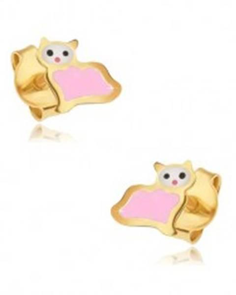 Zlaté puzetové náušnice 375 - plochá ružovo-biela mačička, lesklý email