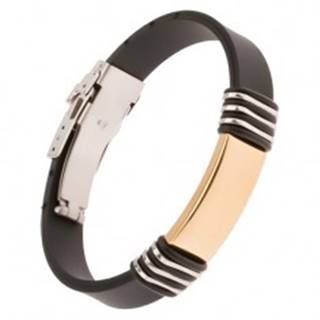 Čierny gumený náramok s oceľovou známkou zlatej farby Y01.01
