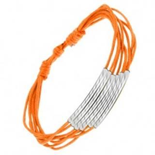 Oranžový šnúrkový náramok, lesklé rúrky so šikmými zárezmi S10.11