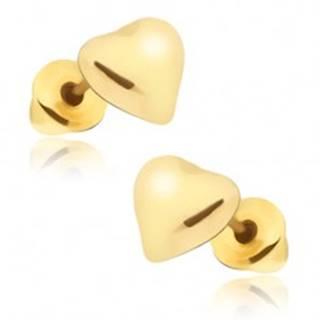 Puzetové náušnice zlatej farby, súmerné srdce