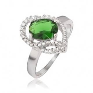 Strieborný prsteň 925, oválny zelený kamienok, zirkónové oblúky - Veľkosť: 51 mm