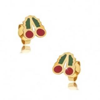 Zlaté puzetové náušnice 375 - glazúrované červeno-zelené čerešne