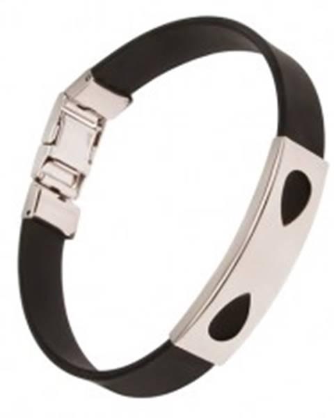 Čierny náramok z gumy, známka so slzičkovými výrezmi P11.04