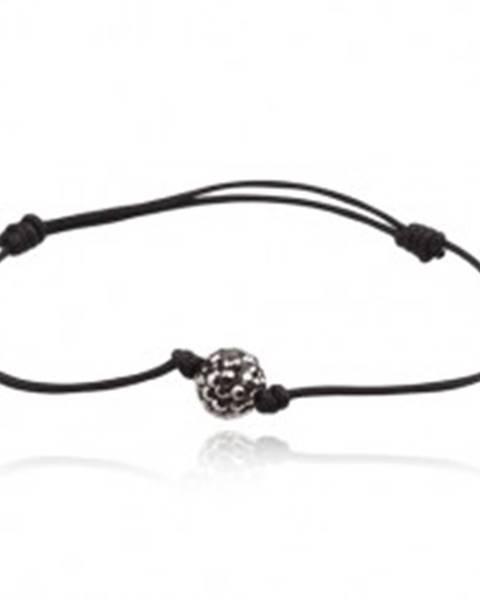 Čierny šnúrkový náramok s oceľovosivou Shamballa guličkou