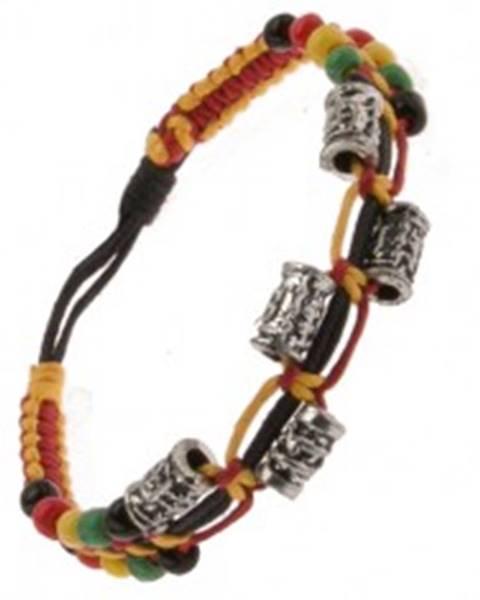 Farebný náramok zo šnúrok, ozdobné kovové valčeky a korálky