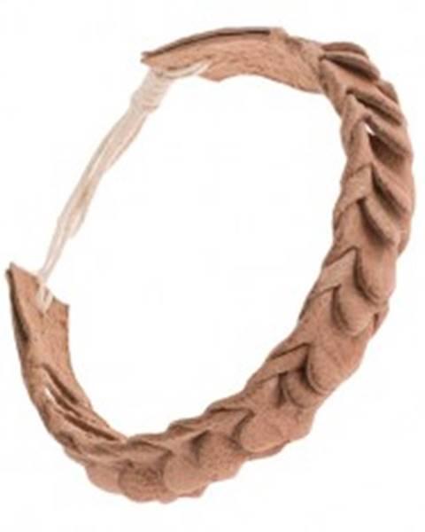 Kožený náramok na ruku so šupinovým motívom - pletený, svetlohnedý