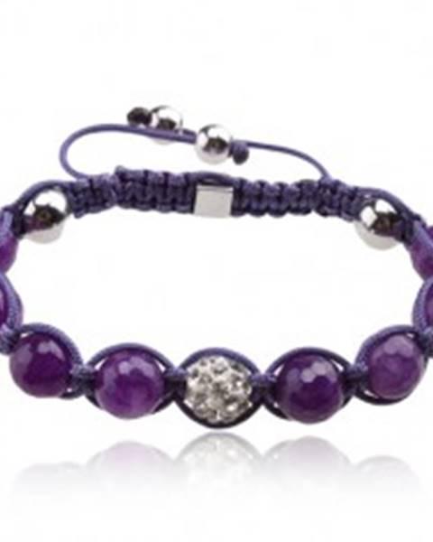 Lesklý fialový Shamballa náramok, gulička s čírymi kamienkami Q18.20