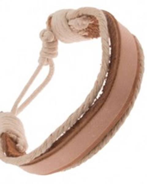 Náramok na ruku z kože - hrubý a tenký béžový pás, krémové šnúrky Q21.03