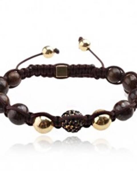 Náramok Shamballa - hnedé mramorové korálky, čierna zirkónová guľôčka