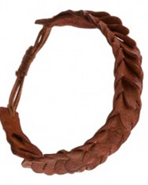 Náramok so šupinovým vzorom z kože karamelovej farby Q22.09