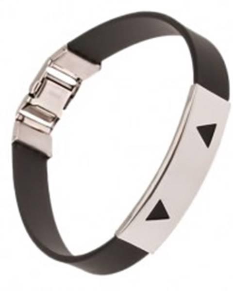Náramok z gumy čiernej farby, známka s trojuholníkovými výrezmi P11.05