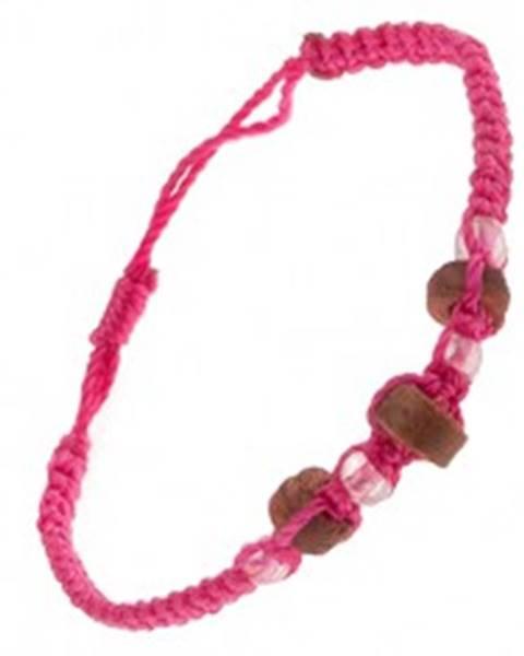 Náramok z ružových šnúrok, drevené valčeky a priehľadné korálky