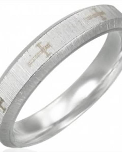Oceľová obrúčka, saténový pás, kríže, šikmé okraje - Veľkosť: 51 mm