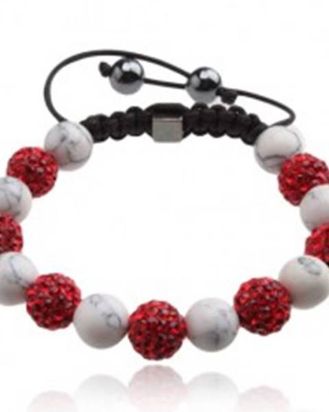 Shamballa náramok, červené zirkónové guličky, mramorové korálky Q17.14