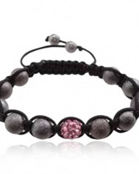 Shamballa náramok, ružová zirkónová gulička, sivé korálky Q18.11