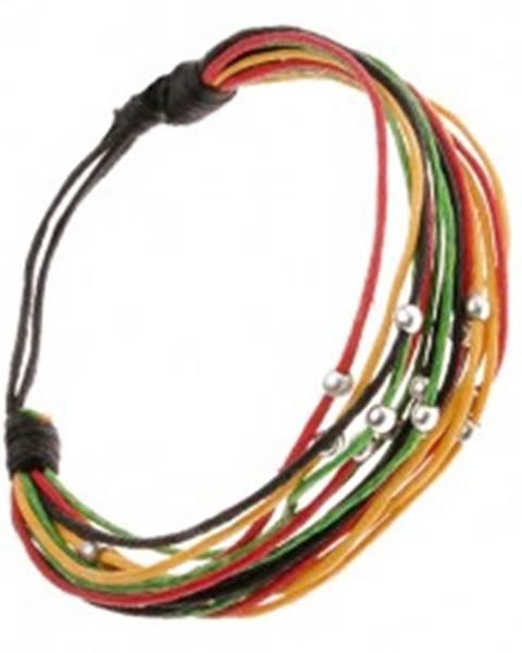 Viacfarebný šnúrkový multináramok, lesklé korálky v striebornej farbe Q21.15