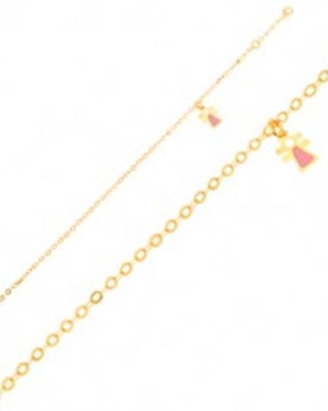 Zlatý náramok 375 - figúrka dievčatka s emailom na ligotavej retiazke