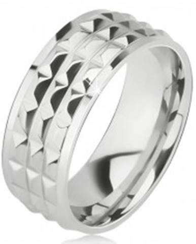 Lesklý oceľový prsteň - obrúčka striebornej farby, ozdobné diamantové plôšky BB10.11 - Veľkosť: 57 mm