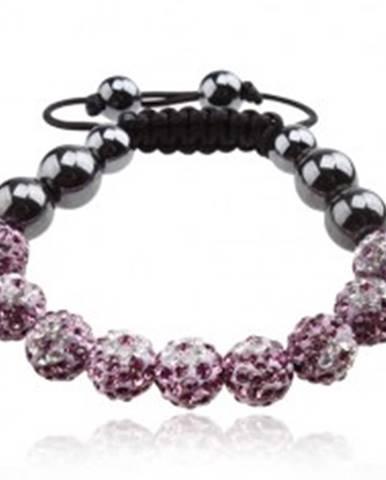 468c6fc8e Náramok Shamballa, fialové guličky s čírymi kvetmi, hematitové korálky  Q18.04