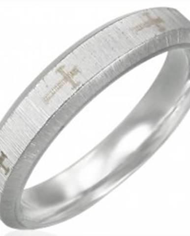 Oceľová obrúčka, saténový pás, kríže, šikmé okraje J06.14 - Veľkosť: 51 mm
