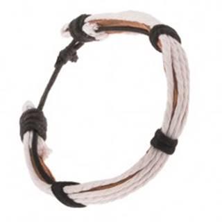 Kožený náramok - svetlohnedý pruh, biele a čierne šnúrky Q19.12