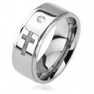 Lesklý oceľový prsteň - vystúpený pás, zirkón, vyrytý matný kríž - Veľkosť: 52 mm