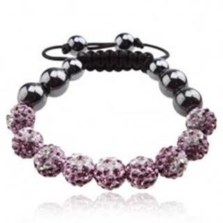 Náramok Shamballa, fialové guličky s čírymi kvetmi, hematitové korálky Q18.04
