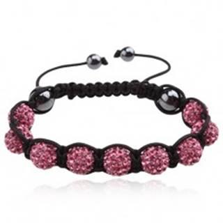 Náramok Shamballa - ružové zirkónové guľôčky, čierna šnúrka Q17.8