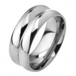 Prsteň z ocele 316L, efekt dvoch obrúčok, 8 mm - Veľkosť: 56 mm