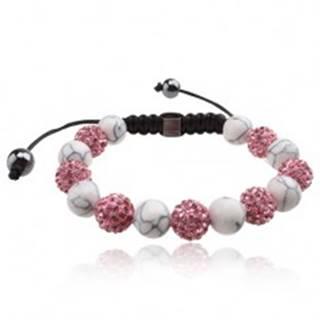 Shamballa náramok, ružové zirkónové a  biele mramorové korálky Q17.15