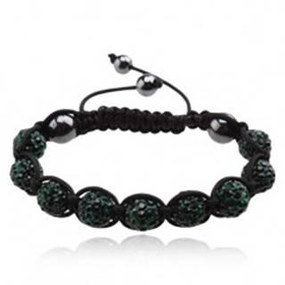 Shamballa náramok, zirkónové guličky smaragdovej farby Q17.09