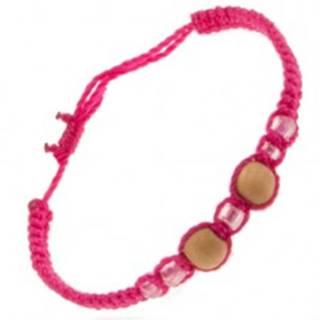 Šnúrkový náramok ružovej farby, dve drevené guličky, sklenené korálky