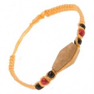 Šnúrkový náramok žltej farby, drevený valček, farebné korálky S17.14