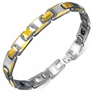Wolfrámový magnetický náramok, články so skosenými okrajmi zlatej farby V03.10