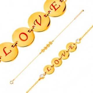 Náramok v žltom 14K zlate - štyri lesklé kruhy s nápisom LOVE, zirkóny, 185 mm