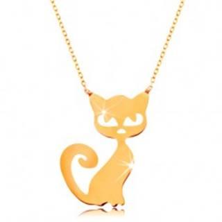 Zlatý náhrdelník 585 - jemná ligotavá retiazka, plochý prívesok - mačička