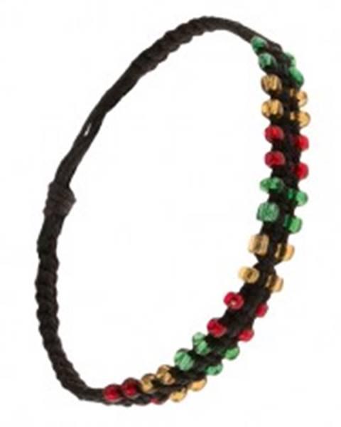 Čierny pletený náramok zo šnúrok, farebné korálkové okraje S19.02