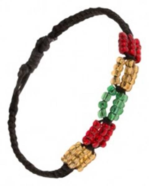 Čierny pletený šnúrkový náramok, farebné korálkové ovály S18.23