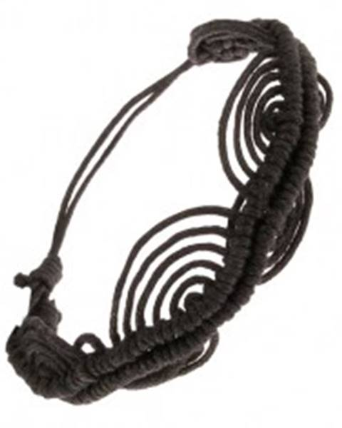 Čierny šnúrkový náramok, zvlnená línia, oblúky S20.08