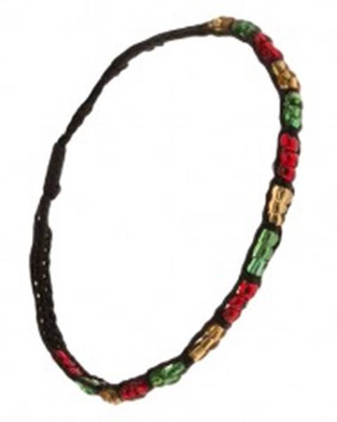 Korálkový náramok, farebné úseky, čierna šnúrka