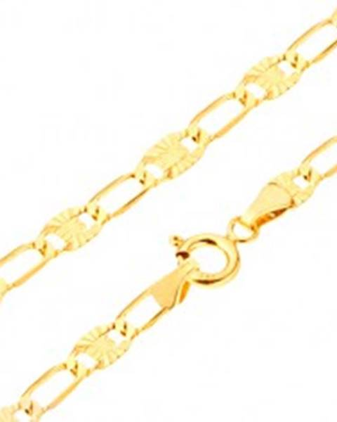 Náramok v žltom 14K zlate - dlhšie tenké očká, lúčovité zárezy, 195 mm GG24.28