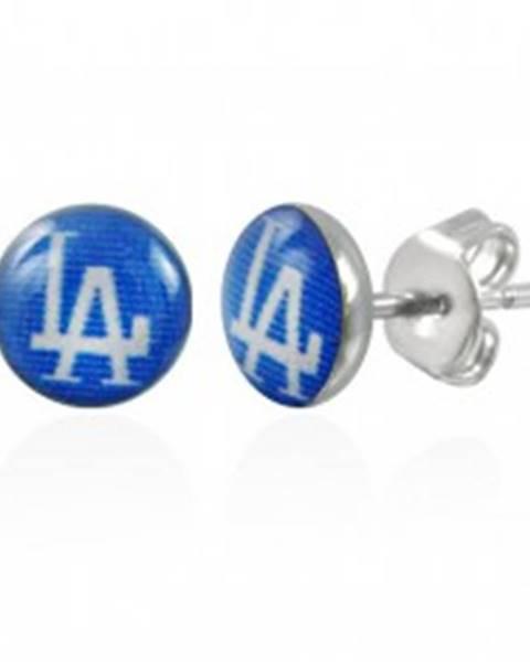 Náušnice z ocele, modré kruhy s nápisom LA