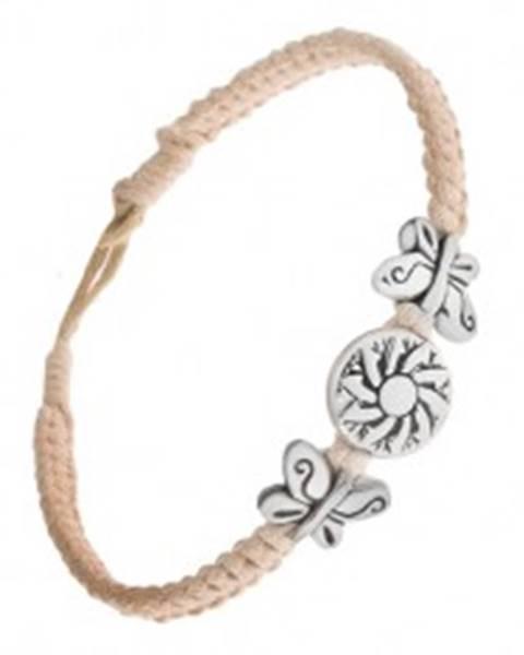 Pletený béžový náramok zo šnúrok, kruhová známka s kvetom, motýle