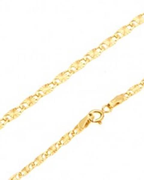 916ce0c49 Retiazka v žltom 14K zlate - ploché podlhovasté články, lúčovité ryhy, 550  mm GG27